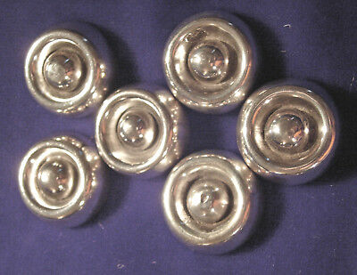 Rare Vintage Set Of 6 Sterling Silver Hector Aguilar Buttons ~ .990 Silver