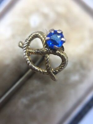 Antique Victorian Ornate Pretty Knot Blue Stone Yellow Gold Stick Pin Brooch