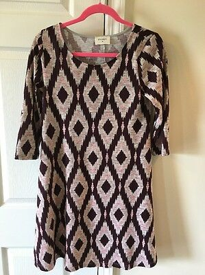 Everly Women's Maternity Boutique Dress, Burgundy Pink And Gray Size Large