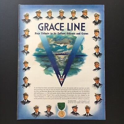 1943 GRACE LINE CRUISE War Time Operations WW2 vintage print ad large magazine