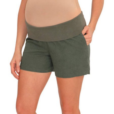 "Great Expectations Maternity 5"" Linen Blend Shorts, Olive Green, Medium, C53"