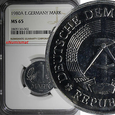 German-Democratic Republic DDR 1980 A 1 Mark NGC MS65 TOP GRADED BY NGC KM# 35.2