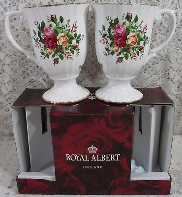 2X Royal Albert China Old Country Roses Set 2 Fluted Collection Mugs New in Box
