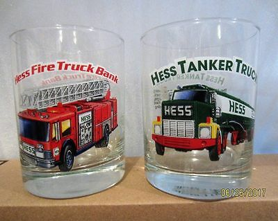 2 Hess 1996 Classic Truck Series Drinking Glasses