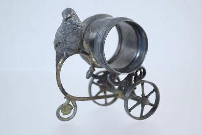 "Antique ""parrot Wheeled Cart"" Figural Silver Plate Napkin Ring Derby 343"