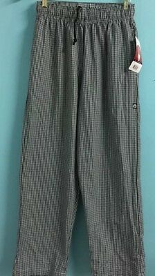 Chef Pants Size Medium Cotton Blend Black & White Workwear CHEF WORKS NWT #A451