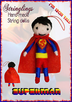 Stringlings String Doll, Voodoo Doll Superman! Keychain Toy, handmade