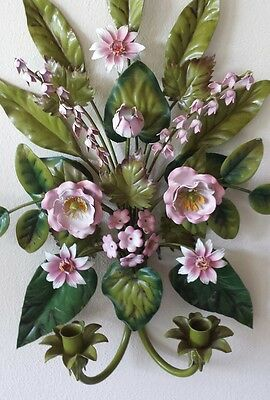 **vintage  Italian Floral/ Roses Wall Sconce**
