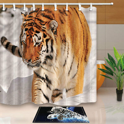 Black Cat Animal is Drawing Red Heart White Waterproof Shower Curtain Rugs/&Hooks