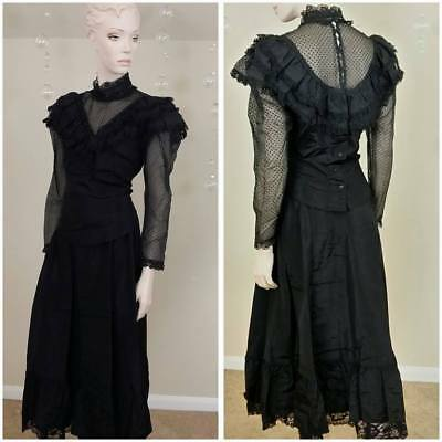 Vintage Gunne Sax Jessica McClintock Black Victorian  set of skirt and blouse