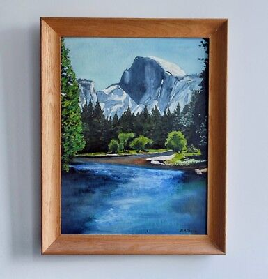 A Signed Vintage Oil On Board Landscape Painting Of Half-Dome Yosemite NP
