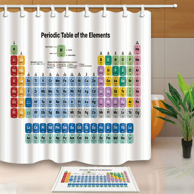 Periodic Table of Chemical Elements White Waterproof Shower Curtain Rugs&12 Hook