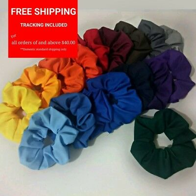 School colour girls scrunchie ponytail red black navy yellow green blue orange