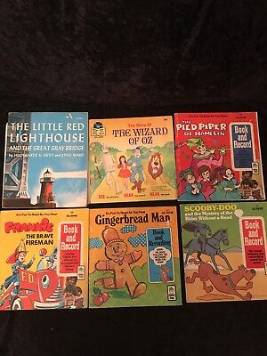 Vintage Kids books and record Disneyland, Scholastic, Peter Pan Records lot of 6