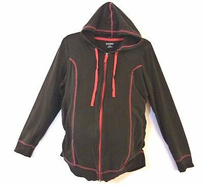 MOTHER MATERNITY Black Pink Athletic Stretch Zip Front Hoodie Sweat Jacket SZ L