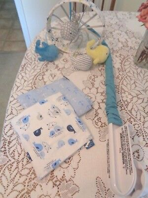 Circo Whales & Anchors Crib Mobile PLAYS BRAHMS' LULLABY & 2 matching blankets