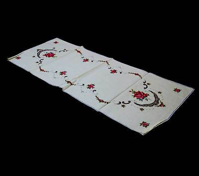 Vintage Shanghai hand embroidered pink roses & lace table runner 100cm x 42cm
