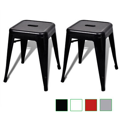 New 2pcs White/Black/Red/Grey Stackable Home Outdoor Small Metal Stool Backless