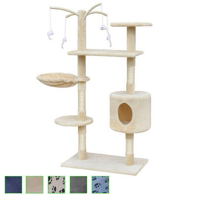 120cm 1 House Cat Tree Scratching Post Activity Centre Bed Toys Multi Choice