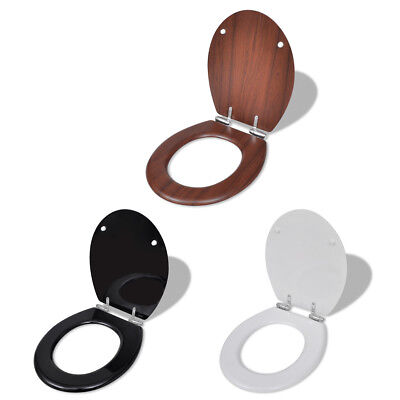 New WC Bathroom Toilet Seat MDF Soft Close Lid Simple Design White/Black/Brown