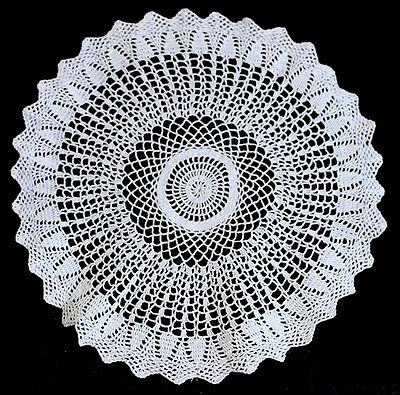 Vintage white round intricate lace doily 31cm across