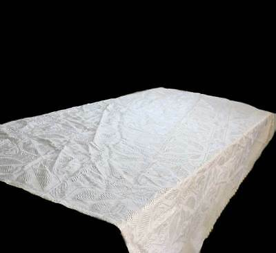 Vintage double bed cream textured bedspread or throw 180cm x 195cm
