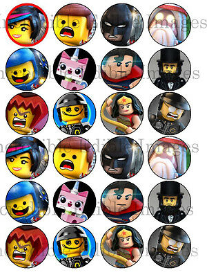 24 x 4cm Lego Movie Edible Icing Cupcake Toppers