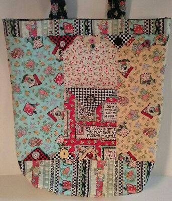 Mary Engelbreit Quilted Handmade Large One Kind Garden Floral Handbag Tote Purse