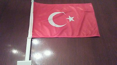 "2  Sided Turkey CAR FLAG 18""x 12"" New"