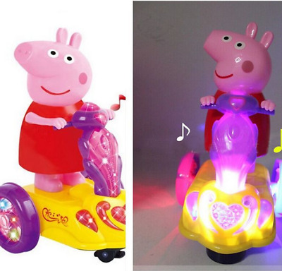 Peppa's Musical & LED Flash Car With Peppa Pig Playset Figures Toys Kids Dolls -