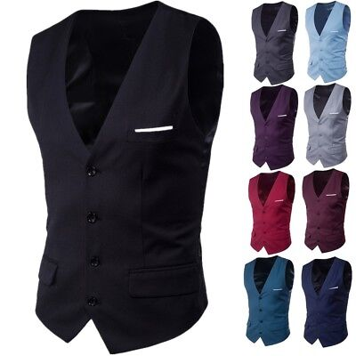 Men's Formal Casual Business Dress Vest Suit Slim Fashion Tuxedo Waistcoat Coat