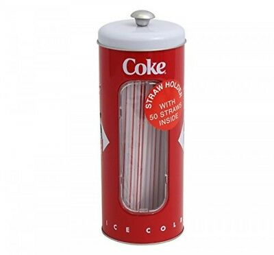 Cocacola Tin Collectible Drinking Straw Holder Dispenser With 50 Straws