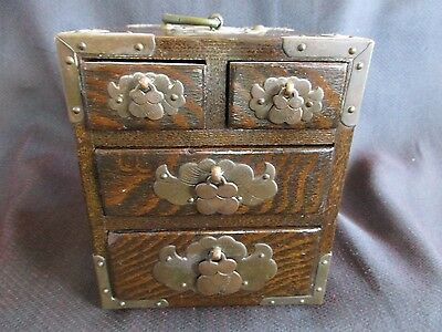 Antique Asian Wooden Spice Box,tea Box / Asian Four Drawer Wooden Box
