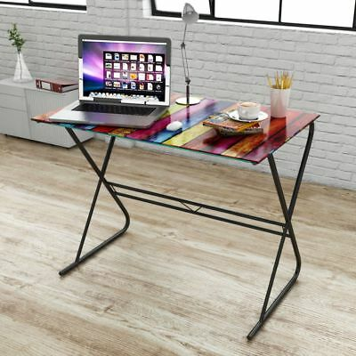Computer Desk PC Table Home Office Workstation Glass Desk with Rainbow Pattern