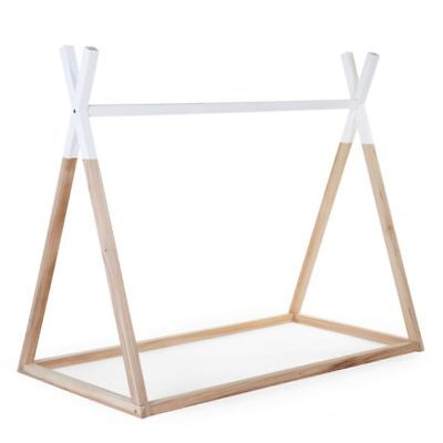 CHILDWOOD Tipi Bed Frame Baby Crib 70x140 cm Wood Natural and White B140TIPI