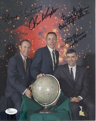APOLLO 13 CREW HAND SIGNED 8x10 COLOR PHOTO    HAISE+KRAFT+LUNNEY+GRIFFIN    JSA