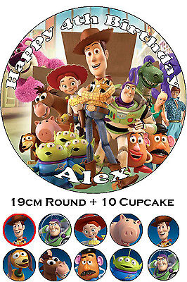 Toy Story Edible Cake Topper Personalised Party Decoration + 10 Cupcakes PRECUT