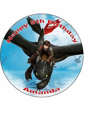 19cm Round How To Train Your Dragon Edible Wafer Cake Topper