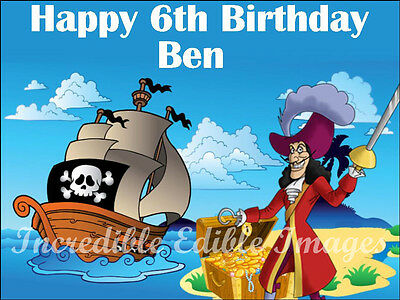 Pirates Captain Hook Treasure Personalised Edible Cake Toppers Party Decoration