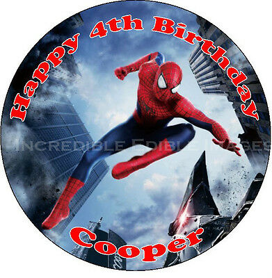Spiderman Edible ICING Cake Topper Personalised Party Decoration