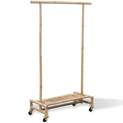 Bamboo Clothes Rack Coat Garment Hanging Rail Storage Stand Holder On 4 Wheels
