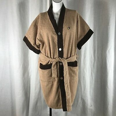 Vtg 60s Weldon Arnold Palmer XL Mens Shave Coat Robe Cotton Terry Tan Brown