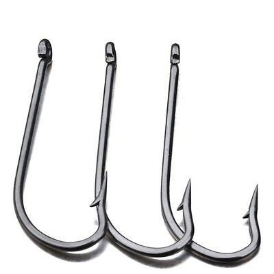 Lot 100pcs Bait Holder Hook Fishing Hooks Black Stainless Steel Fishhook New