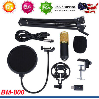 Pro BM800 Condenser Microphone Kit Studio Suspension Boom Scissor Arm Sound Card