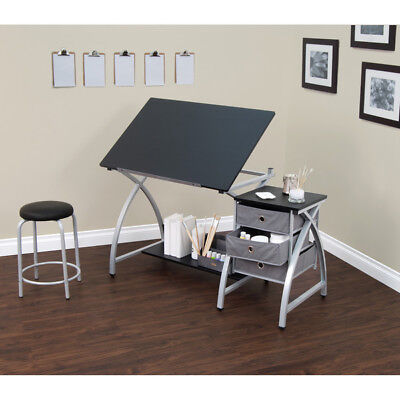 Artist Drafting Table Stool Storage Drawer Drawing Desk Craft Decor Art Station