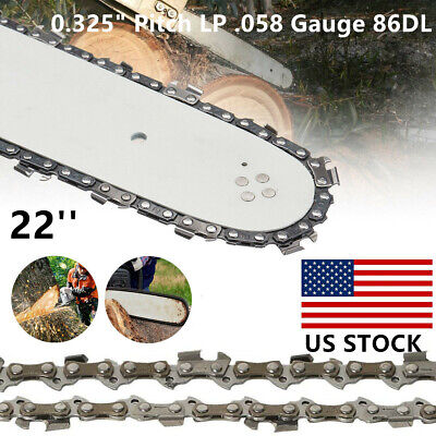 "22"" Chainsaw Saw Chain Blade 0.325"" Pitch LP .058 Gauge 86DL Drive Links Parts"