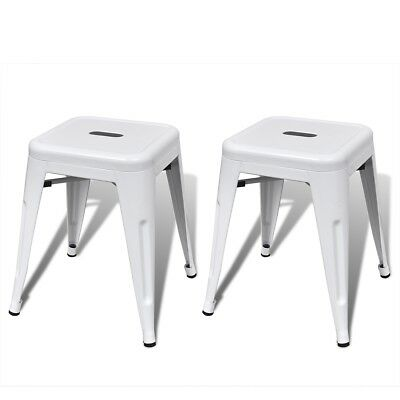 New 2 pcs White Stackable Small Metal Stool Steel Water-resistant Sturdy Durable