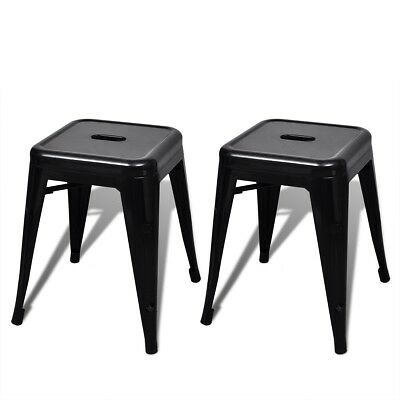 New 2 pcs Black Stackable Small Metal Stool Steel Water-resistant Sturdy Durable