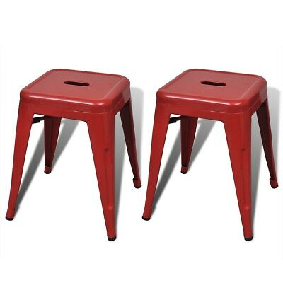 New 2 pcs Red Stackable Small Metal Stool Steel Water-resistant Sturdy Durable