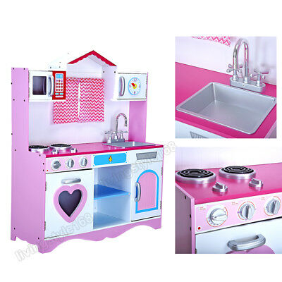 Large Girls Pink Wooden Play Kids Kitchen Childrens Pretend Role Play Toy New